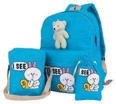 Catenzo Junior CIN 032 tas ransel 3in1 perempuan - bahan dinir - 32x13x42 - lucu dan bagus (Blue)