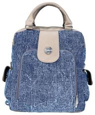 Catenzo KH 14 tas ransel wanita - bahan denim - 30x33x10 - keren dan gaul (Blue)