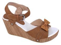 Catenzo NN 030 Sandal Wedges Wanita - bahan sintetis - rubber outsole - 7cm - cantik dan menarik (brown)