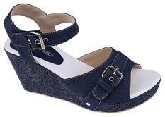 Catenzo NN 040 Sandal Wedges Wanita - bahan denim - rubber outsole - 7cm - cantik dan menarik (blue)