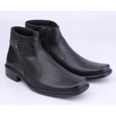 Harga Catenzo Sepatu Pantofel Boots Formal Pria Leather Hitam Fullset Murah