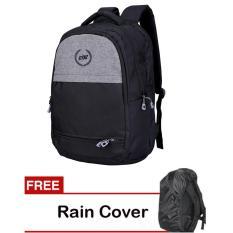 Catenzo Tas Ransel Backpack Sekolah Kuliah Kerja ST045 - Hitam - Plus Gratis Rain Cover Pelindung Hujan