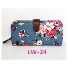 Cath King Fashion Wanita Ritsleting Panjang Dompet Kartu Paket-Bunga Biru-Intl