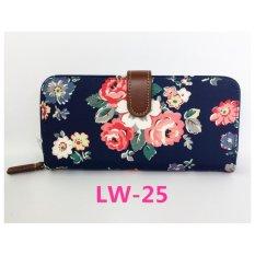 Cath King Fashion Wanita Ritsleting Panjang Dompet Kartu Paket-Biru Tua Bunga-Internasional