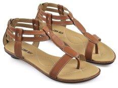 Beli Cbr Six Mic 202 Sandal Flat Bertali Wanita Trendy Syntetic Coklat Pake Kartu Kredit