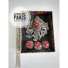 Spesifikasi Cbs Set Bros Alpaka Aksesoris Khas Bali Perhiasan Anting Cincin Model Pakis Alpaka Bakar Permata Merah Dan Harganya