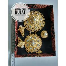 CBS -  Set bros alpaka aksesoris khas bali perhiasan anting cincin rembulan subeng permata putih