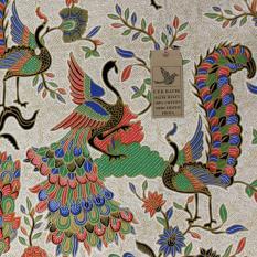 Cek Batik - Kain Batik Motif Modern Burung-burung Cenderawasih Dasar Cream Soft (warna Kombinasi : Orange, Hijau, Hitam, Biru dan Putih)