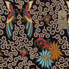 Cek Batik - Kain Motif Batik Unik Bunga, Kupu - kupu dan Burung (Hitam Manis)