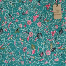 Cek Batik - Kain Motif Bunga Kombinasi Warna Motif (Pink, Hijau Lumut, Putih, HIJAU TOSCA)