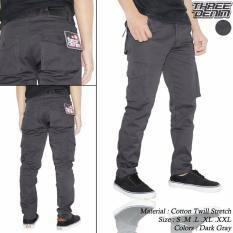Celana Cargo Panjang Pria Dark Grey