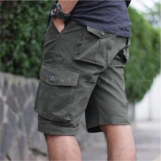 celana cargo pendek Pria - Hijau Army
