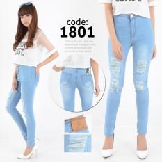 Nusantara Jeans - Celana Panjang Wanita Haigwaist Model Tinggi Sepuser Sobek Tidak Tembus Retsleting Kuat Berbahan Denim - Bleach