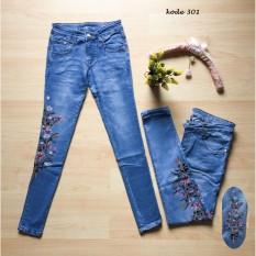 Spek Lolile Celana Jeans Bordir Bunga 301 Size Besar 31 34 Lainnya