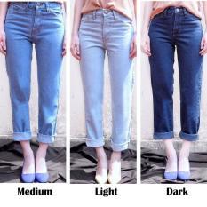 Celana Jeans Boyfriend Wanita Plain Boyfriend Jeans