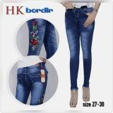 Beli Celana Jeans Celana Wanita Motif Bunga Biru Tua Murah