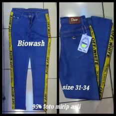 Celana Jeans Cewek Jumbo Offwhite List Kuning Dengan Kualitas Bagus Indonesia Diskon
