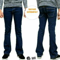 Miliki Segera Celana Jeans Cutbray Pria Biru Wosh