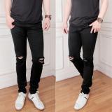 Spesifikasi Celana Jeans Hitam Sobek Dengkul Pria Lengkap Dengan Harga