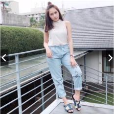 Jual Tokolobo Celana Jeans Wanita Jogger Meow Biru Muda Branded