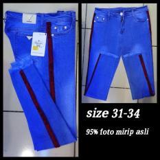 Obral Celana Jeans Offwhite Jumbo List Red Cewek Kualitas Bagus Murah