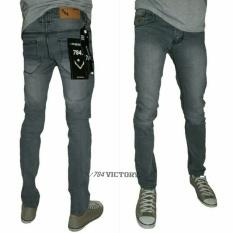 Celana jeans panjang pria jeans slim fit pensil - jeans sekiny (grey scrup)