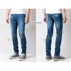Celana Jeans Panjang Skinny Robek Ripped Pria / Denim Cowok Skiny Pensil Blue Washed PUM30