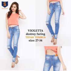 Celana Jeans Panjang Wanita Premium - Violetta Furing Destroy