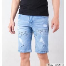 Harga Celana Jeans Pendek Pria Robek Ripped Slimfit Denim Sedengkul Model Sobek Cowok Biru Muda Terang Ston12 Dki Jakarta