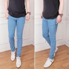 celana jeans pria biru muda slimfit polos premium