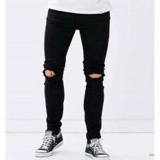 Celana Jeans Pria Hitam/Black Sobek/ripped Lutut