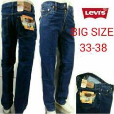 Celana Jeans Pria Regular Big Size Biowash/Biru Tua Levis-Wrangler - Eaaa7e
