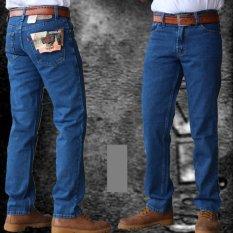 Celana Standar Pria Celana Jeans Pria Reguler Standar Bahan Tidak Melar - Biru Gelap