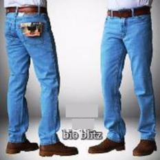 Celana Jeans Pria Reguler Standar Bahan Tidak Melar - Biru Terang