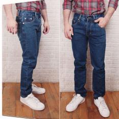 celana jeans pria reguler/standar biru tua murah