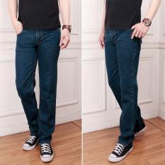 Celana Jeans Pria/Cowok Biru Dongker Reguler Murah