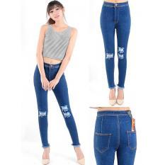 Diskon Produk Celana Murah Jeans Ripped Sobek Double Knee Denn 2585 Plain Navy Ancien Store