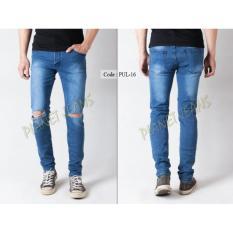 Celana Jeans Robek Lutut Pria Skinny Atau Pensil Denim Sobek Di Dengkul Ripped Knees Cowok PUL16