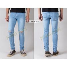Celana Jeans Robek Lutut Pria Skinny - Pensil Denim Sobek Di Dengkul Warna Biru Muda Blue Wash Cowok PUL13
