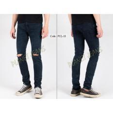 Celana Jeans Robek Lutut Pria Skinny - Pensil - Denim Sobek Di Dengkul Warna Snow Black Cowok PUL18