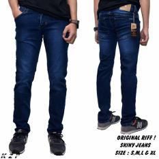 Celana jeans sekiny pria / celana panjang jeans denim RIFF (BIRU WOSCH)