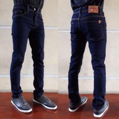 Celana jeans skiny pria biru dongker