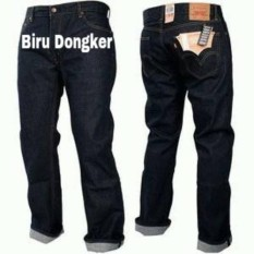 Celana Jeans standar pria LVS-Biru Dongker