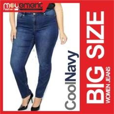 Celana Jeans Wanita Big Size Jumbo SIze - Blue Navy