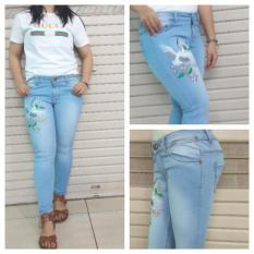 Beli Celana Jeans Wanita Bordir Bunga Baru