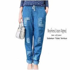 celana jeans wanita - Celana Panjang Wanita Boyfriend Jeans Ripped Blue - celana jeans rombeng wanita