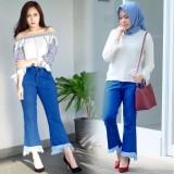 Harga Celana Jeans Wanita Fashionable Boy Friend Cutbray Yang Bagus