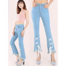 Jual Beli Celana Jeans Wanita Fashionable Hw Cutbray New Tali Birumuda Den2581 Baru Dki Jakarta