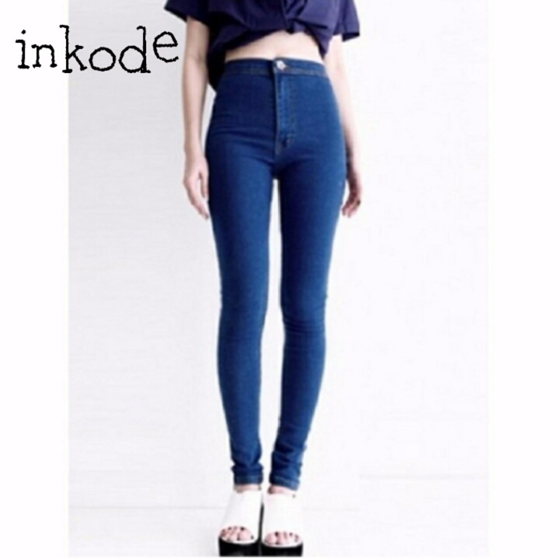 Celana Jeans Wanita Import-Original Denim-Harga Murah-Blue Nusantara Jeans - Celana Jeans Wanita Skinny Ripped Ristleting Erigo Berbahan Denim