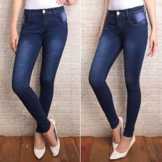 celana jeans wanita PR biru navy wash terbaru skiny/slimfit ngaret